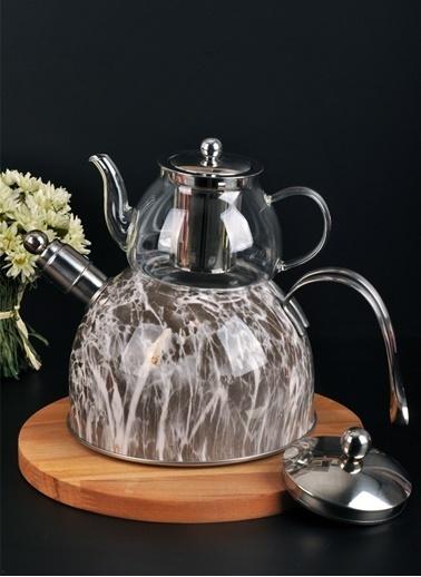 Bayev Mermer Düdüklü Cam Çaydanlık-200602 Gri